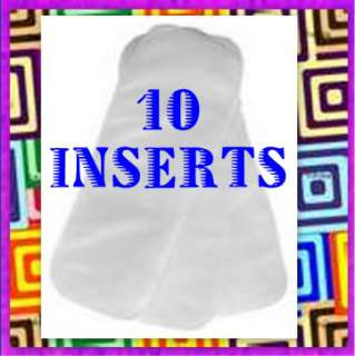FUZZIBUNZ Terry DIAPER INSERTS 10 Pack Small Med Large