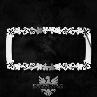 Chrome Style License Plate Frame Hawaiian Hibiscus Flower Polished