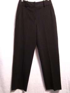 Larry Levine Stretch Womans Size 6 Black Pin Striped Dress Pants