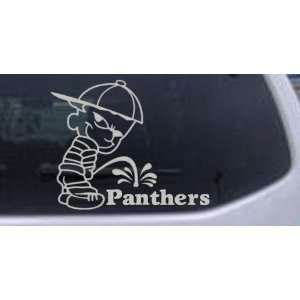 Silver 18in X 14.8in    Pee On Panthers Car Window Wall Laptop Decal