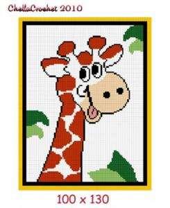 Baby Giraffe Jungle Afghan Crochet Pattern Graph 100st
