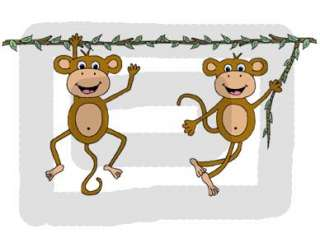 MONKEY JUNGLE NURSERY WALL ART BORDER STICKERS DECALS