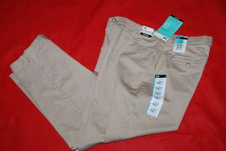 Relaxed Fit Straight Leg Stretch Khaki Pants Size 16 P 32x28