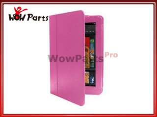 Hot Pink Folio PU Leather Case Cover w/Stand for  Kindle Fire 7
