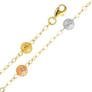 14K Tri Color Gold Fancy Designer Ball Bracelet with Lobster Clasp