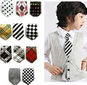 New Kid Baby Boy Elastic Neck Tie Plaid patterns style