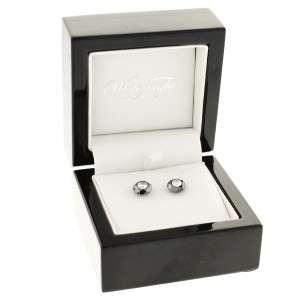 14K 585 White Gold Black & White Diamond Stud Earrings Screw Back 2ctw