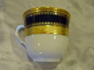 HEINRICH ECHT KOBALT BLUE & GOLD DEMITASSE 4 CUP & SAUCER SET