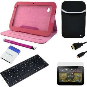 GTMax Hot Pink Leather Folio Case w/Stand + Neoprene Sleeve Case