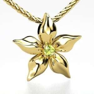 Star Flower Pendant, Round Peridot 14K Yellow Gold