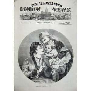1874 Little Willis Christmas Baby Women Hunt Old Print
