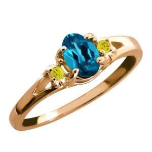 London Blue Oval Topaz and Canary Diamond 18k Rose Gold Ring Jewelry