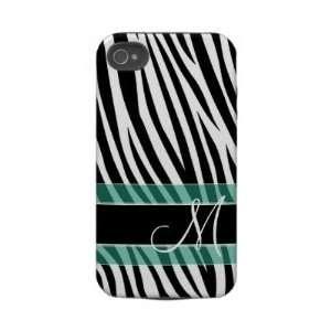 Zebra Stripe Pattern with Monogram Iphone 4 Tough Case