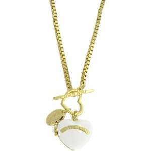 Gold Toned White Heart Locket Necklace Jewelry