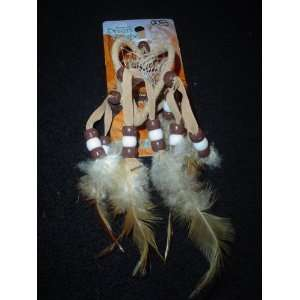 TAN DOUBLE RING HEART DREAM CATCHER (LEATHER AND FEATHERS