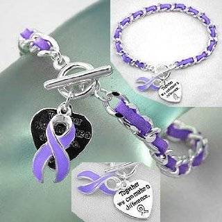 Purple Ribbon Cancer Awareness Toggle Bracelet w/ Suede