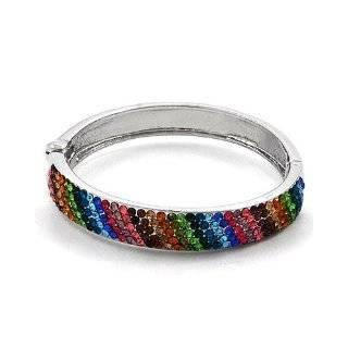 Multi Colored Rhinestone Clay Based Bangle Bracelet