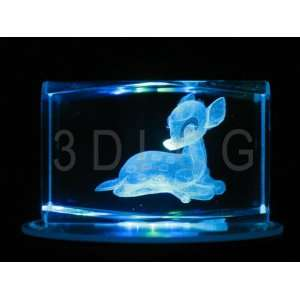 Disney Bambi 3D Laser Etched Crystal SH