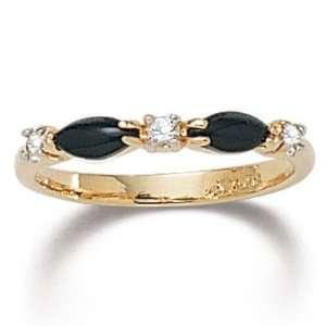 PalmBeach Jewelry Onyx Crystal Ring Jewelry