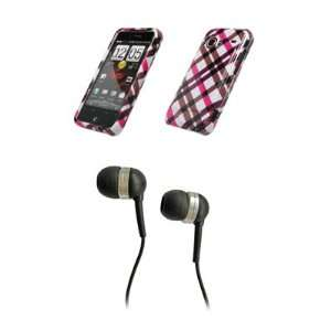 HTC Droid Incredible Premium Hot Pink Plaid Design Snap on