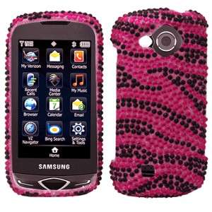 Hot Pink Zebra Crystal Bling Hard Case Cover for Samsung Reality U820