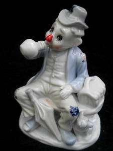 Porcelain Figurine Sad CLOWN HOBO Ragman Wino & Dog