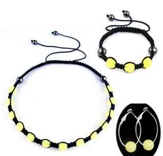 Set Bracelet Earring Disco Crystal Ball Beads Hip Hop Macrame