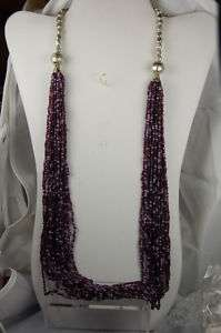 Purple Multi Strand Sea Beaded Necklace from India.