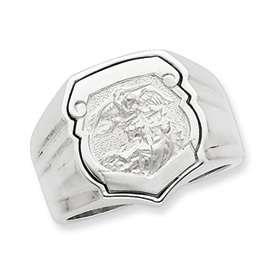 Mens Sterling Silver St Saint Michael Ring Sz 10 18gr