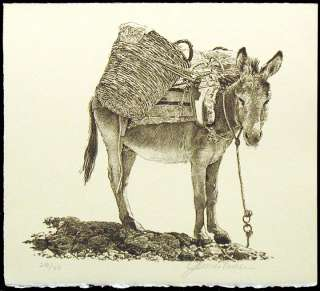 James Asher Donkey HAND SIGNED ORIGINAL LITHOGRAPH ART Listed Artist