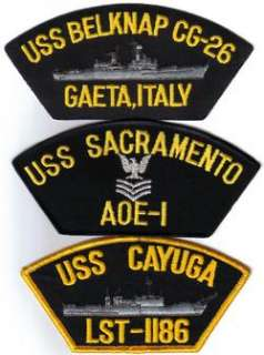 US NAVY SHIP BASEBALL CAP/HAT PATCH USS CAYUGA LST 1186 USN NAVAL CREW