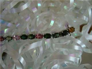 Plat/925 Multi Color Tourmaline Tennis Bracelet, 7.5