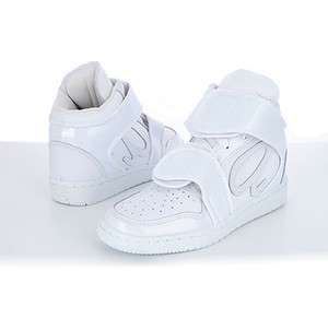 NEW Womens HIGH TOP FASHION STRAP SNEAKERS Basketball Shoes WHITE, US