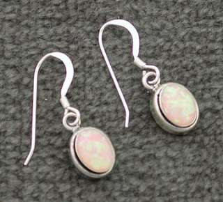Sterling Silver Created Pink Opal Oval Dangle Earrings
