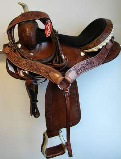 Barrel Rr Trail Pleasure Western Saddle 16 Dark Tooled Leather