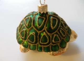 XL SEA TURTLE EUROPEAN BLOWN GLASS CHRISTMAS TREE ORNAMENT DK GREEN