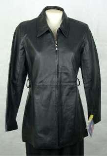 NWT U.S.A. LEATHER Womens Ladies Black LEATHER Coat Jacket size S