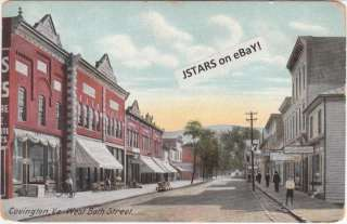 1908 COVINGTON, VA, BATH STREET SCENE POSTCARD