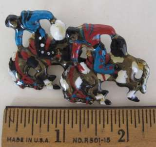 Vintage HAND PAINTED ENAMELED BROOCH Double Bucking Broncos