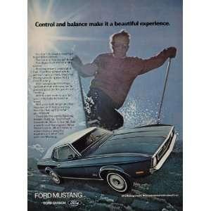 1972 Print Ad Blue Ford Mustang Grande Car Skier Skiing