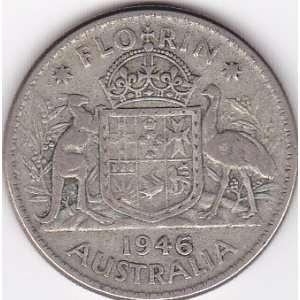 1946 Australia Florin Silver Coin   King George VI
