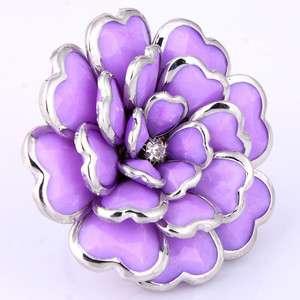purple resin heart layer flower rhinestone new woman lady finger