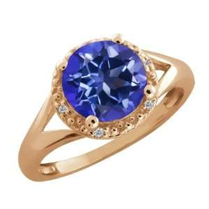 44 Ct Round Tanzanite Blue Mystic Topaz and Diamond 18k Rose Gold Ring