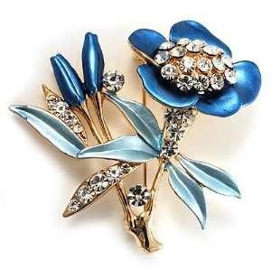 Blue Enamel Crystal Bunch Of Flowers Brooch (Gold Tone) Jewelry