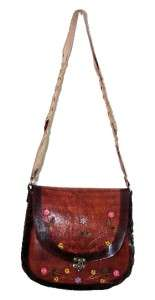 BORDER HAND PAINTED TOOLED LEATHER HANDBAG