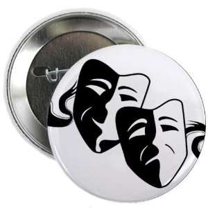 COMEDY TRAGEDY Drama Masks on White 2.25 inch Pinback