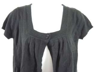 NWT SWEET ROMEO Black Short Sleeve Cropped Cardigan L
