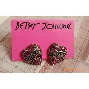 Betsey Johnson Fuchsia Crystal Love Heart Stud Earrings