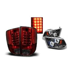 09 10 Dodge Ram 1500 Black CCFL Halo Projector Headlights