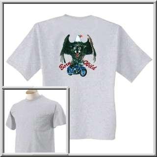 Born Wild Eagle Wolf Motorcycle Shirts S XL,2X,3X,4X,5X